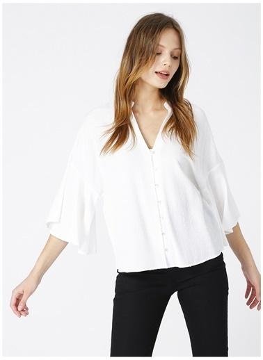 NetWork Network Kadın Jakralı Beyaz Kaçık Yaka Truvakar Kol Basic Gömlek Beyaz